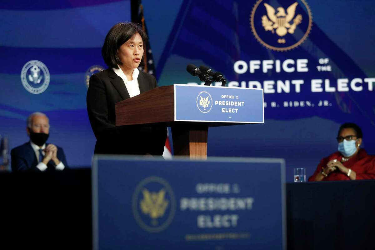 Katherine Tai speaks after being formally nominated by President- elect Joe Biden to be U.S. Trade representative on Dec. 11, 2020, at the Queen Theater in Wilmington, Del.
