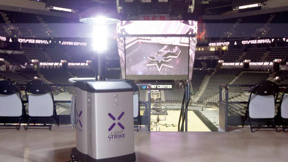 What is the AT&T Center doing to ensure safety?  Fans will notice a few obvious changes, like social distancing and signs reminding guests to keep the space between fellow Spurs fans, but the AT&T Center is also employing a few other tools as safeguards.  There will be enhanced disinfection systems, like germ-zapping robots (pictured). Fans will also meet Healthy Howdy team members, who are greeters on hand to guide guests through the new protocols.