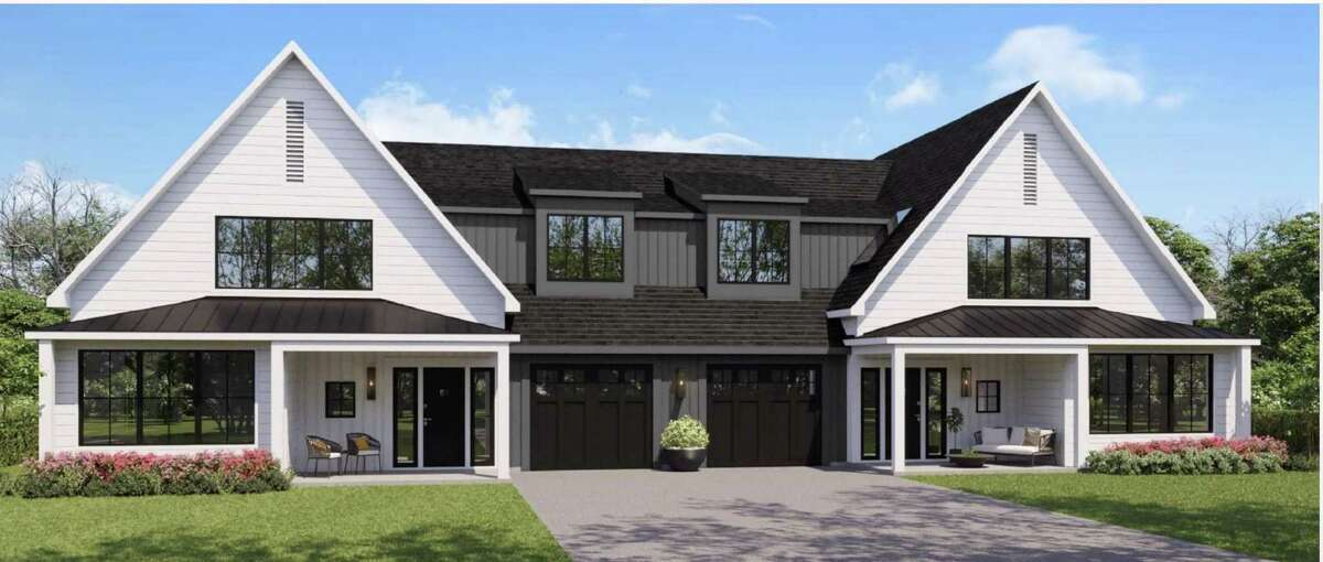 A rendering of one of five senior housing duplexes being proposed for 2.54-acre parcel of undeveloped land at 125 Richards Ave.