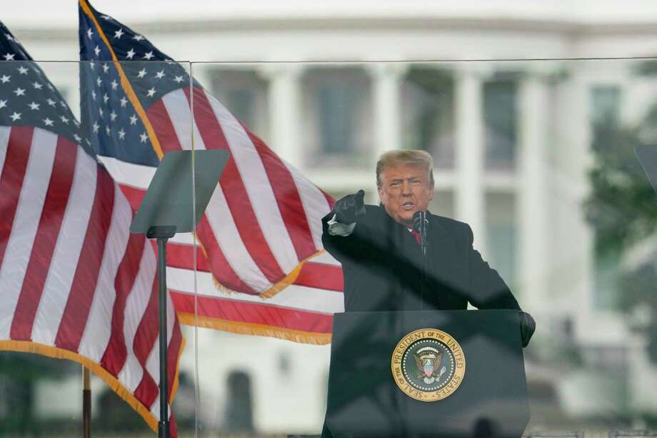 President Donald Trump speaks during a rally protesting the electoral college certification of Joe Biden as President, Wednesday, Jan. 6, 2021, in Washington. (AP Photo/Evan Vucci) / Copyright 2021 The Associated Press. All rights reserved