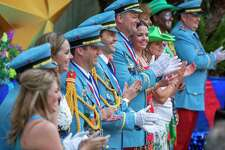 Members of the Texas Cavaliers at the Arneson River Theatre at La Villita during the Texas Cavaliers River at the River Walk on Monday, April 22, 2019.