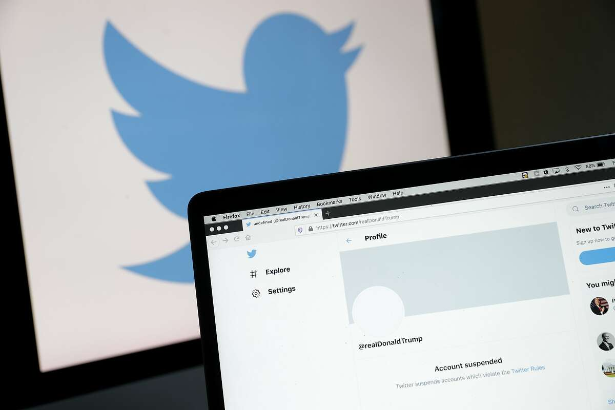 The suspended Twitter account of U.S. President Donald Trump appears on a laptop screen on Jan. 8, 2021, in San Anselmo, Calif.