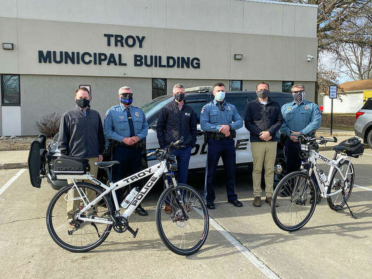 From left are MCT GIS Specialist David Cobb, Troy Police Chief Brad Parsons, MCT Managing Director SJ Morrison, Troy Police Officer Zach Sellers, Troy Mayor Al Adomite and Troy Police Assistant Chief Brent Shownes.