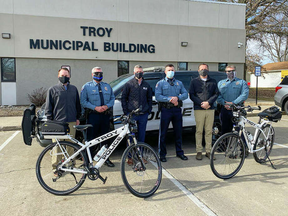 From left are MCT GIS Specialist David Cobb, Troy Police Chief Brad Parsons, MCT Managing Director SJ Morrison, Troy Police Officer Zach Sellers, Troy Mayor Al Adomite and Troy Police Assistant Chief Brent Shownes. Photo: Courtesy Of Madison County Transit