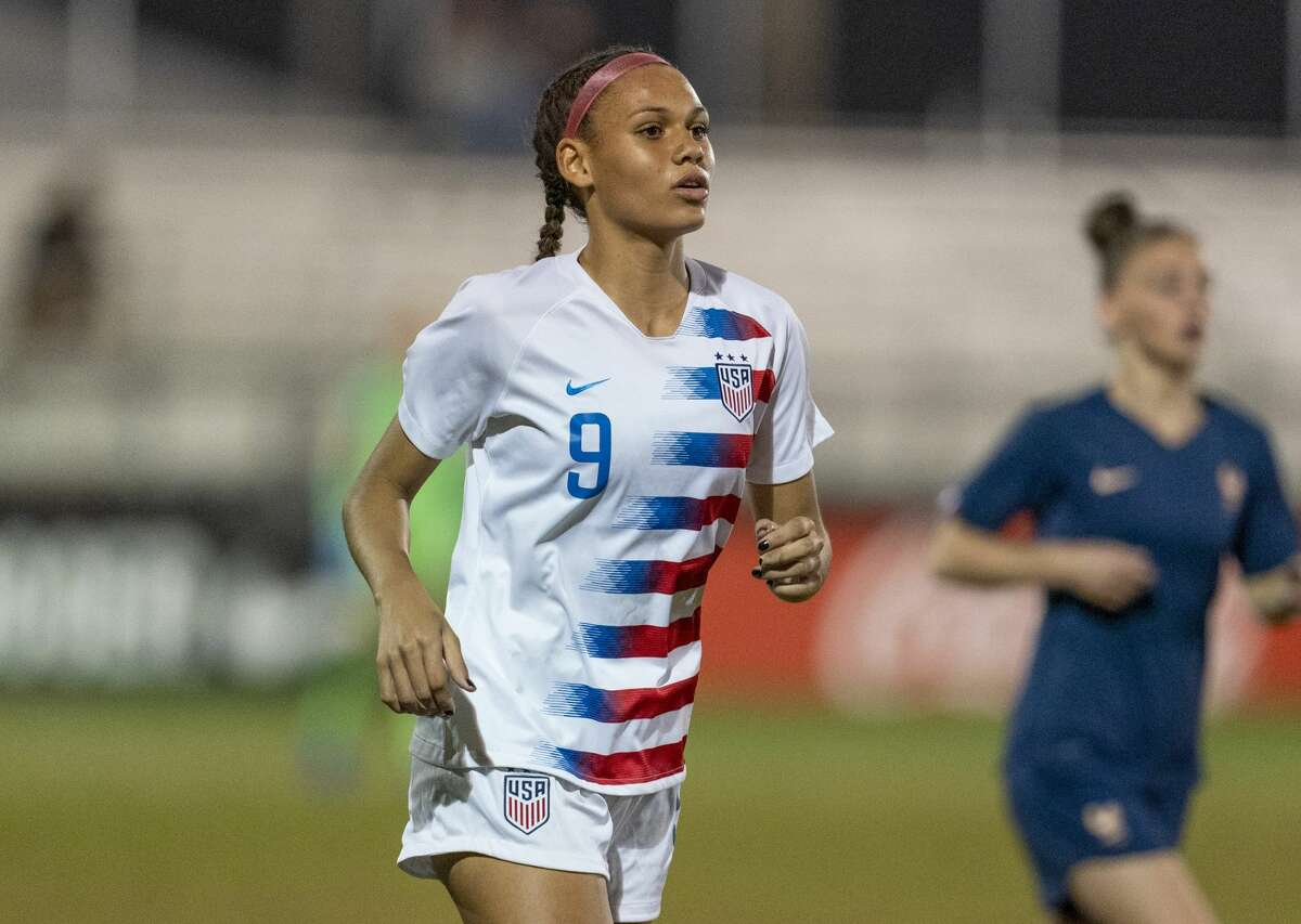 LAKELAND RANCH, FL - DECEMBER 13: Trinity Rodman #9 of the United States walks up the field during a game between France and USWNT U-20 Blue at Premier Sports Campus on December 13, 2019 in Lakeland Ranch, Florida. (Photo by Brad Smith/ISI Photos/Getty Images)
