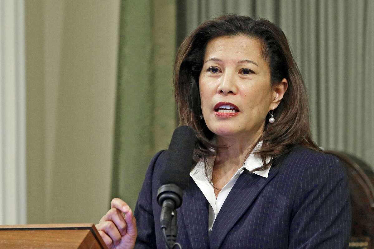 """California Supreme Court Chief Justice Tani G. Cantil-Sakauye delivers her State of the Judiciary address at the Capitol in Sacramento, Calif. In a unanimous opinion authored by Cantil-Sakuye, California's strict """"ABC test"""" that makes it hard to claim workers are independent contractors applies retroactively, the state Supreme Court ruled on Thursday in a decision that could hurt Uber, Lyft and other gig companies in numerous lawsuits."""