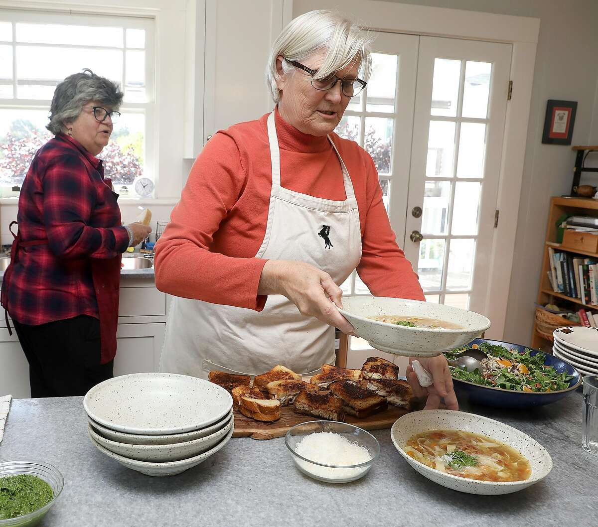 Cowgirl Creamery founders Sue Conley, left, and Peggy Smith make soup in Petaluma.