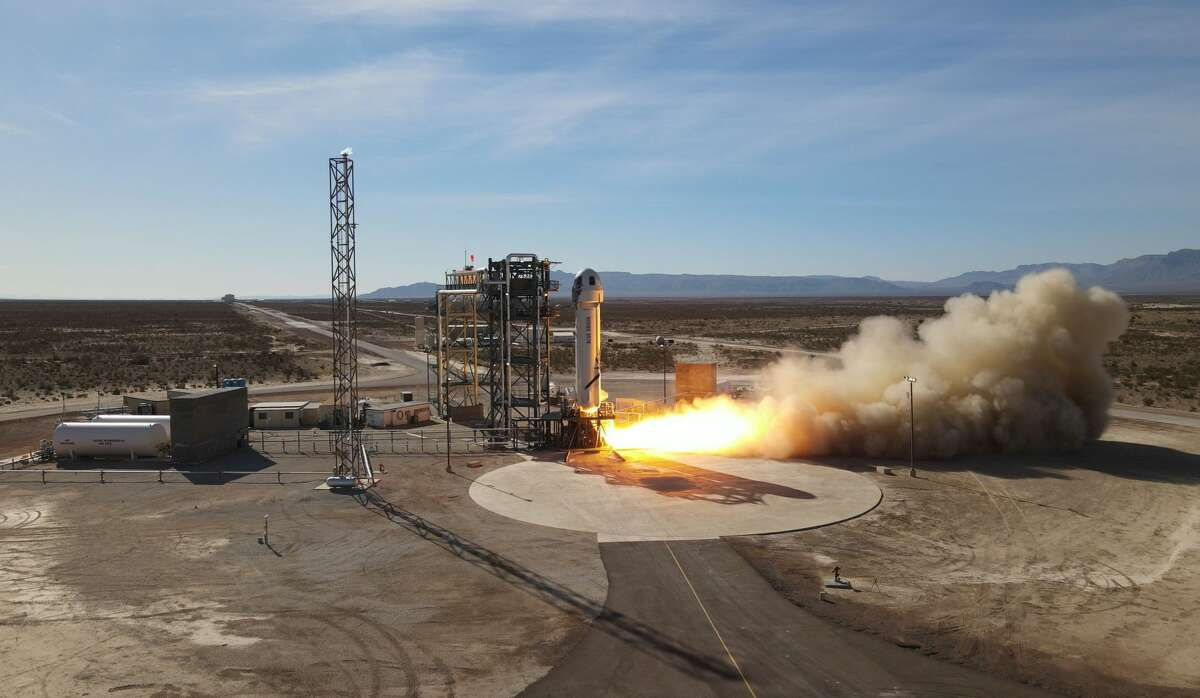 Blue Origin's New Shepard rocket system launches Jan. 14, 2021, from West Texas.