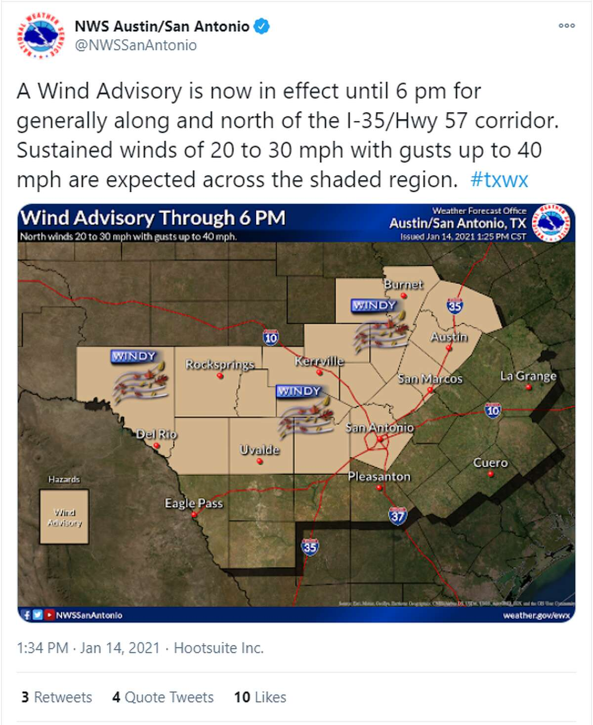 Screenshots from National Weather Service on Twitter