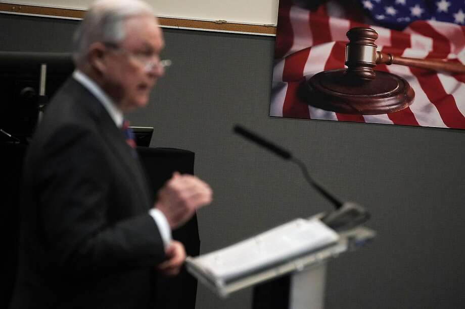 Jeff Sessions, U.S. attorney general from 2017 to 2018, addresses incoming immigration judges in Falls Church, Va., in September 2018. Photo: Alex Wong / Getty Images 2018