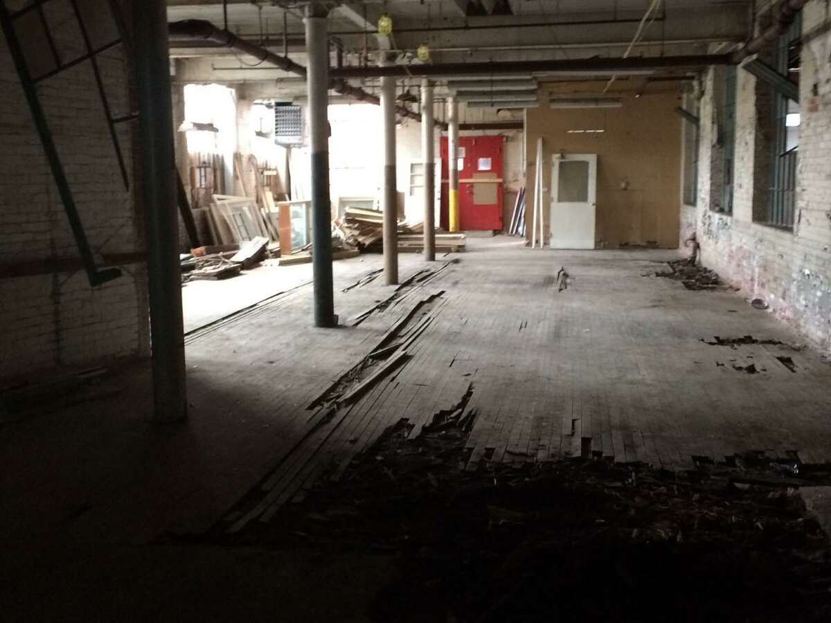 A July 2017 interior photo of the building in the former Ball & Socket factory complex where a Cheshire nonprofit is turning the former manufacturing facility into an arts center. Representatives of the group Ball & Socket Arts revealed that their first commercial tenant has committed to the project.