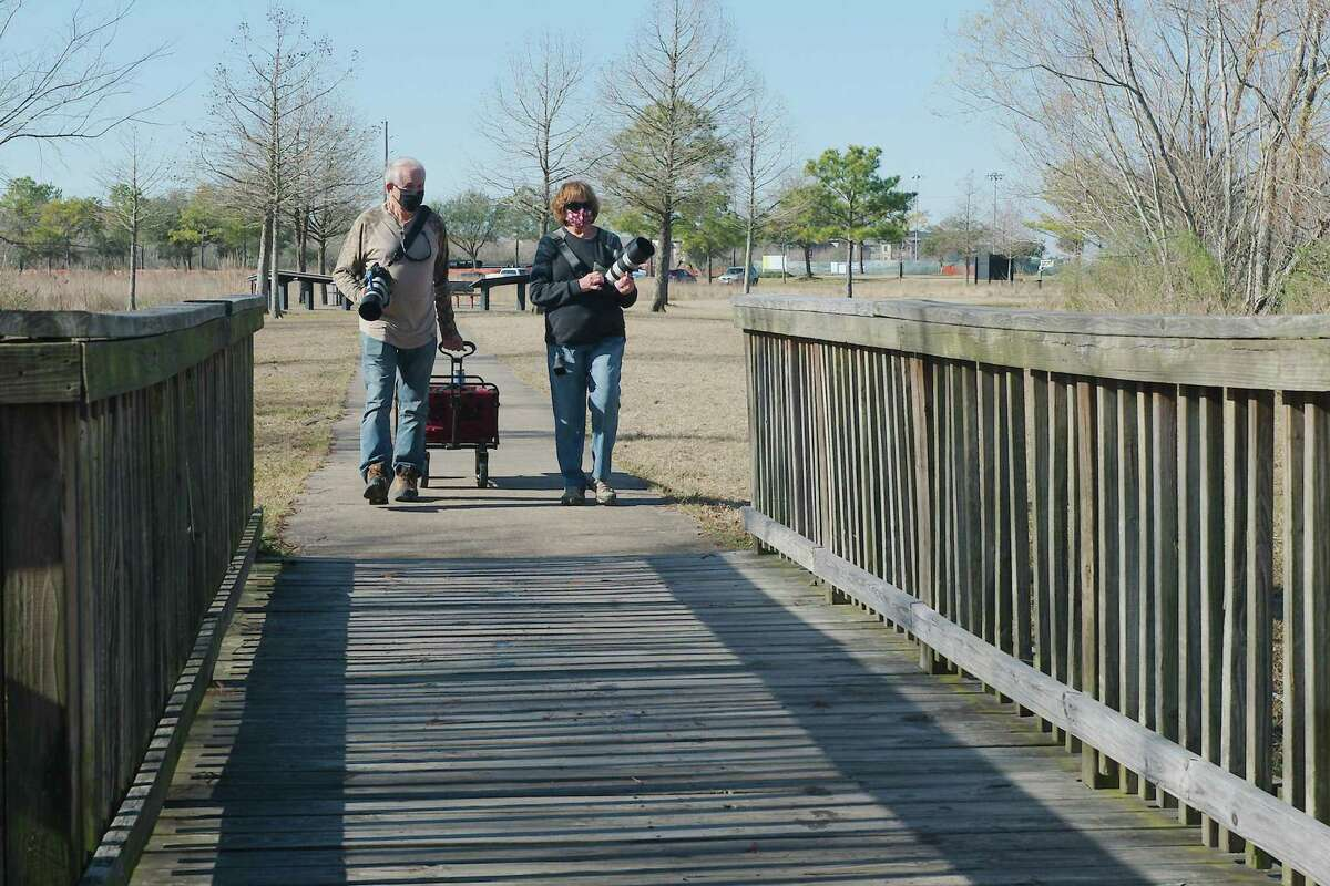 Richard and Joyce Bennett head out to do some bird-watching and photography along the new Shadow Creek Nature Trail in Pearland. City Council recently approved a five-year master plan that includes a variety of proposed projects and the eventual goal for every resident to live within a 10-minute walk to a park.