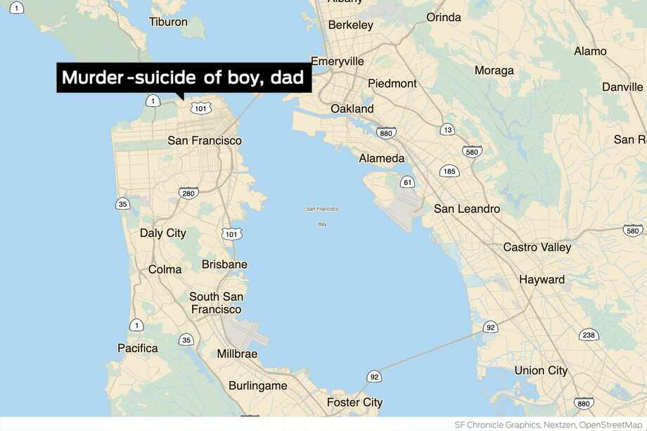 A 9-year-old boy was killed Wednesday evening in the Marina District in what police are investigating as a murder-suicide involving an adult family member believed to be the boy's father. Photo: S.F. Chronicle Graphics, Nextzen, OpenStreetMap