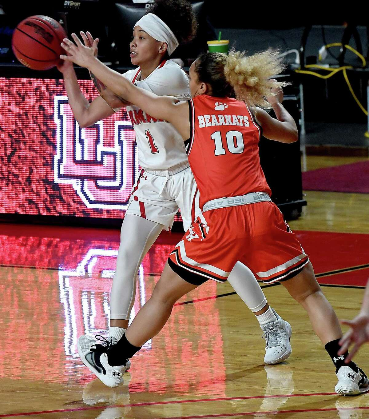 Lamar's Jadyn Pimentel passes as they face Sam Houston State at home Wednesday. Photo taken Wednesday, January 13, 2021 Kim Brent/The Enterprise