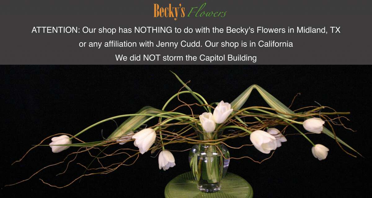 A screenshot of the Roseville Becky's Flowers website, which now has a disclaimer letting visitors know it is not affiliated with Jenny Cudd.