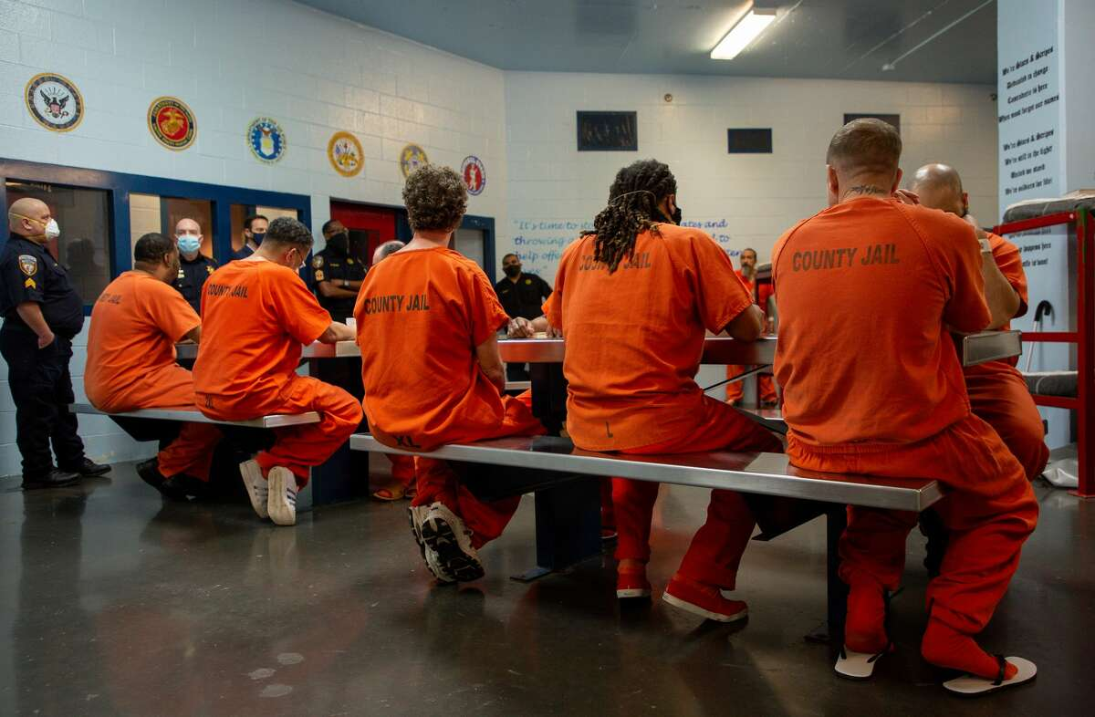 Inmates seen inside the Harris County Sheriff's Office Detention Facility on Thursday, Jan. 14, 2021, in Houston.