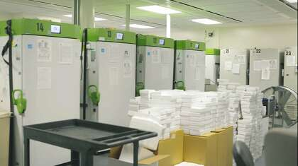 Cedars-Sinai Medical Center in Los Angeles stores COVID-19 vaccines in super-cold storage.