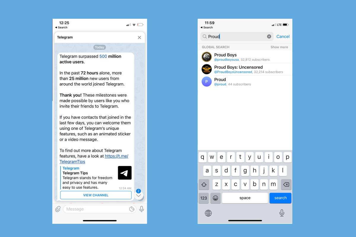 Screenshots from the social media app Telegram.