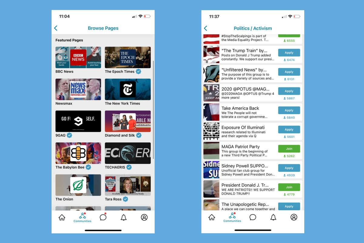Screenshots from the social media app MeWe.