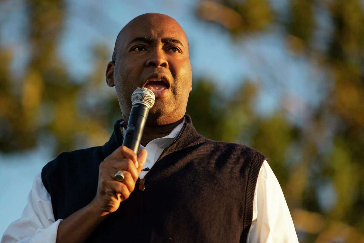 Democratic candidate for U.S. Senate Jaime Harrison holds a drive-in campaign rally in North Charleston, S.C., in October.
