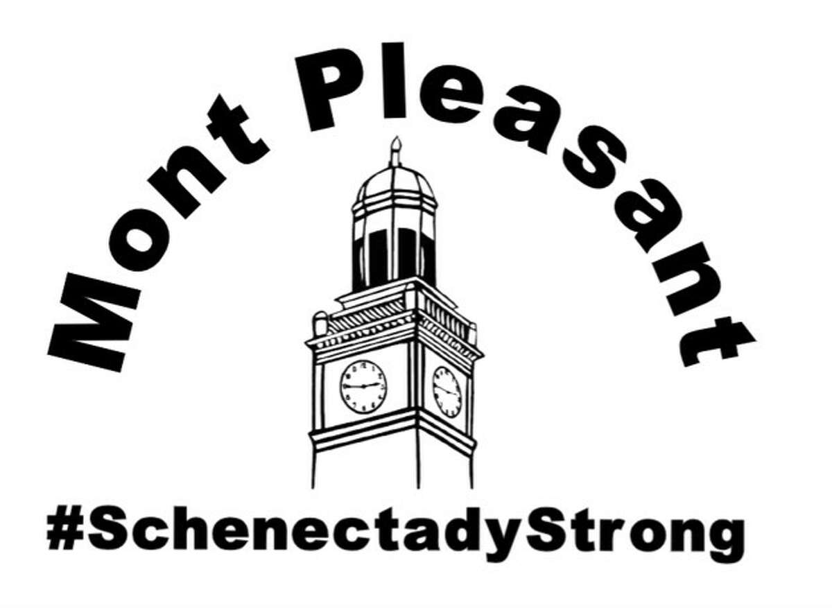 Mont Pleasant Middle School T-shirt logo two teachers at the Schenectady school hope will inspire students to appear live on-screenn for online classes.