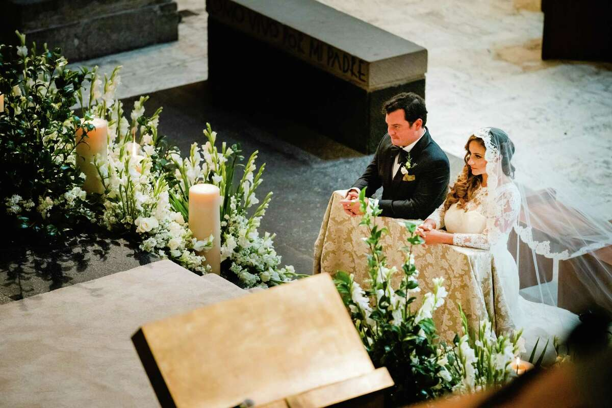 """Sara Padua and David Cordúa tie the knot in Cuernavaca, Mexico at Hacienda de Cortés, where conquistador Hernán Cortés wed a woman of Aztec ancestry; their son, Martín Cortés, was one of the first known mestizos of New Spain.""""Plus, the place looks like something out of 'Lord of the Rings,'"""" the grooms says. """"It's a secret garden, and everything seems kind of alive."""""""