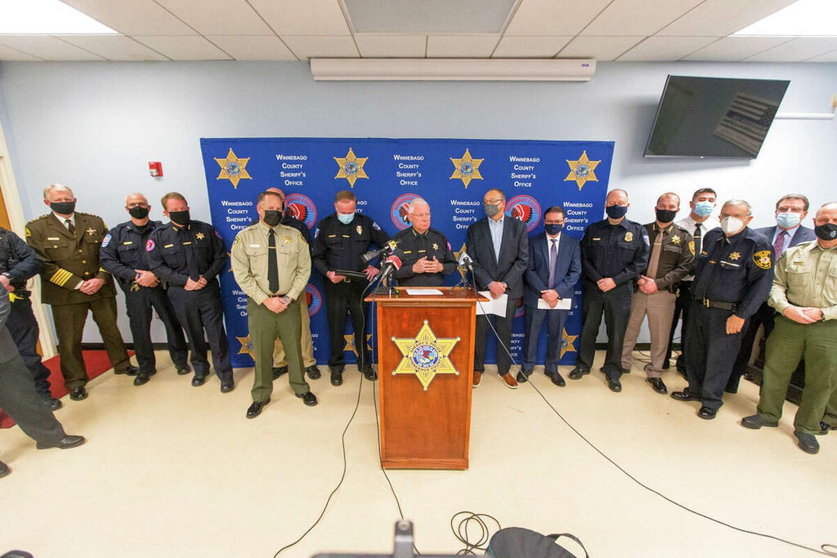 Winnebago County Sheriff Gary Caruana hosts a press conference with 18 other law enforcement leaders and county officials in an attempt to get state lawmakers to pause consideration of a bill that dramatically changes how police conduct business in Illinois. The controversial measure passed and now awaits Gov. J.B. Pritzker's signature.