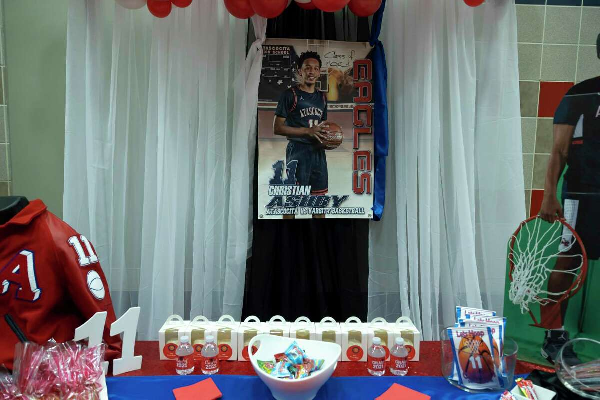 As seen, tables are decorated during Senior Night at Atascocita High School, Wednesday, Jan. 13, 2021, in Humble.