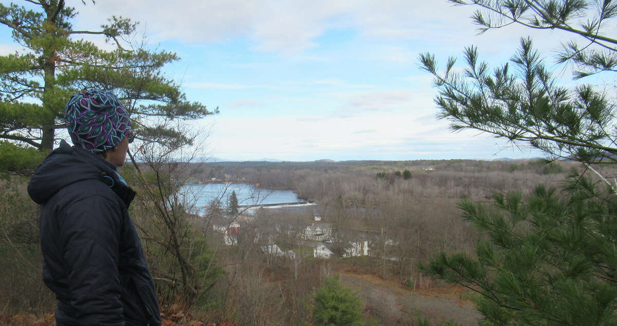 Gillian Scott takes in the view of the Hudson River from Stark's Knob.