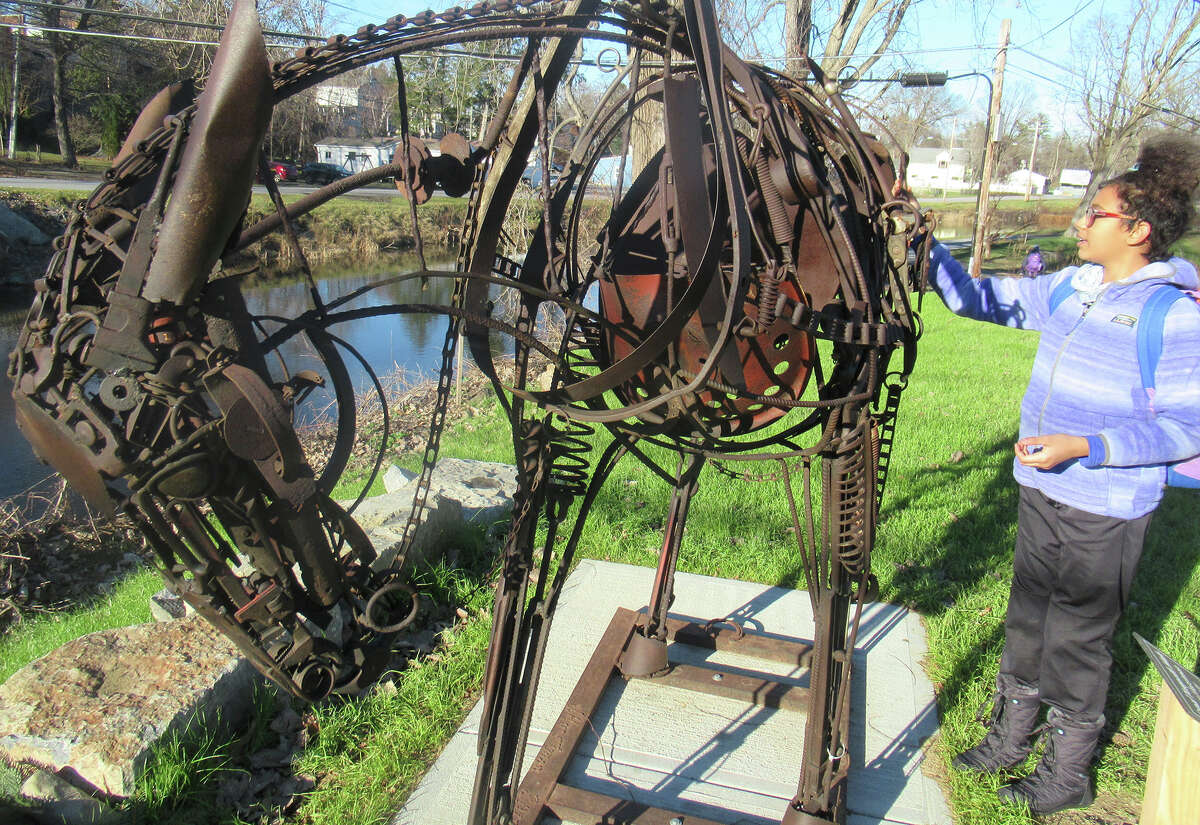 A mule sculpture along the Champlain Canal Towpath in Schuylerville.