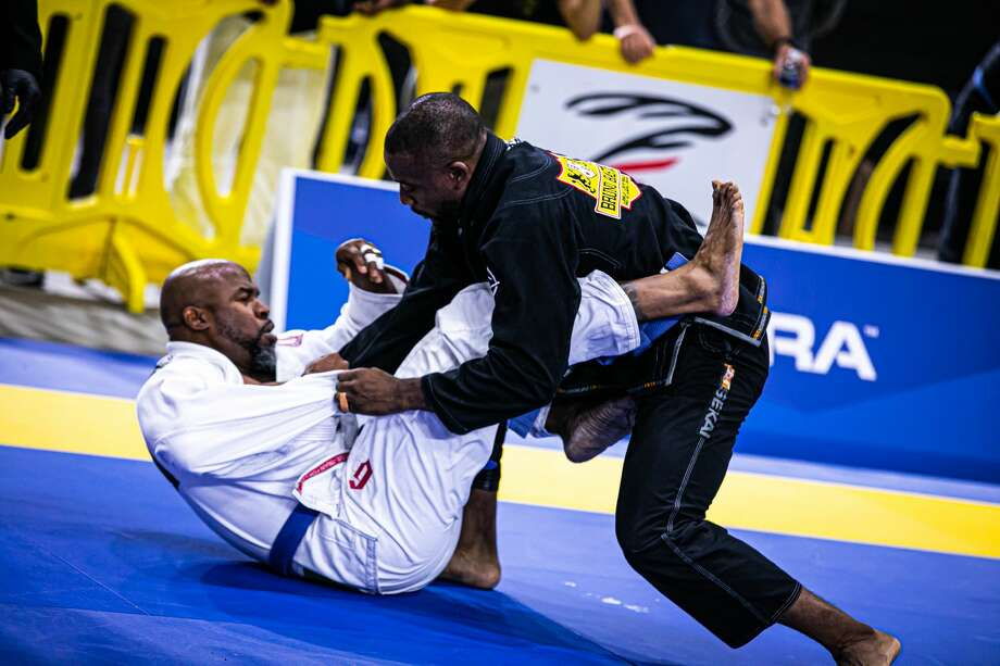 Bastos Brazilian Jiu-Jitsu competitor Jacobe Kendrick, left, grapples with his opponent during the IBJJF World Master in December, 2020, in Kissimmee, Florida. Photo: Courtesy/Photo By Giselle Villas