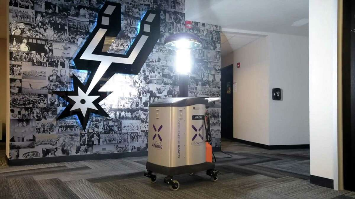 The team purchased two LightStrike robots from San Antonio-based Xenex Disinfection Services Inc. to kill pathogens in the arena with pulses of ultraviolet rays.