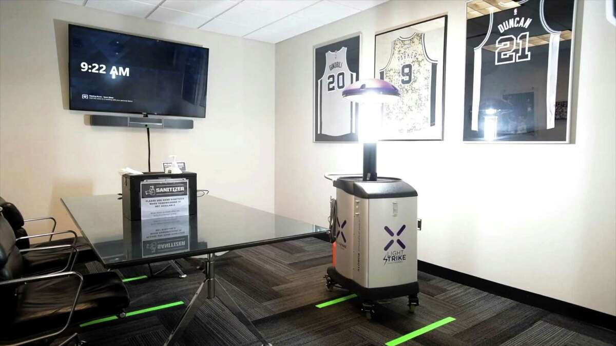 """The robots arrived Dec. 8, and are in use throughout the AT&T Center """"disinfecting meeting rooms, locker rooms, rehabilitation areas, suites, restrooms, offices, concession areas and elevators."""""""