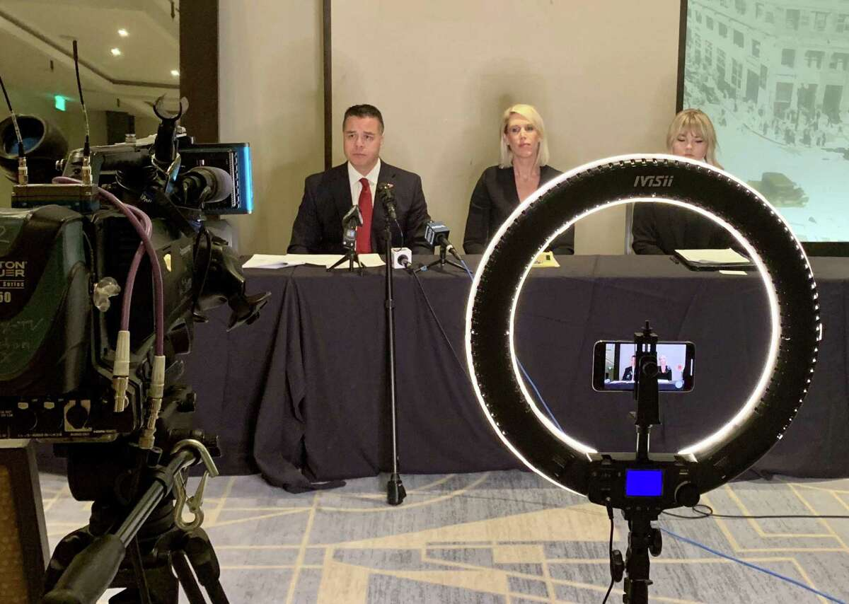 Attorneys Jose Sanchez, Michelle Simpson Tuegel and Morgan McPheeters announcing a lawsuit they introduced in court on May 28, 2020, indicating that an immigrant woman they represent was raped by guards at the Houston Processing Center, a detention center administered by CoreCivic for Immigration and Customs Enforcement.