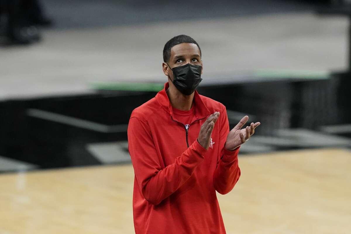 Houston Rockets head coach Stephen Silas during the second half of an NBA basketball game against the San Antonio Spurs in San Antonio, Thursday, Jan. 14, 2021. (AP Photo/Eric Gay)