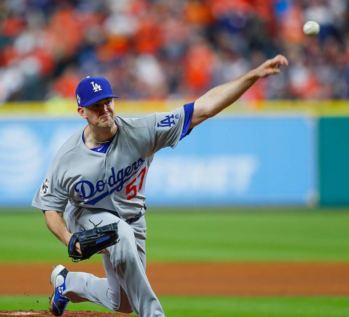 Los Angeles Dodgers starting pitcher Alex Wood (57) pitches during the fourth inning of Game 4 of the World Series at Minute Maid Park on Saturday, Oct. 28, 2017, in Houston.