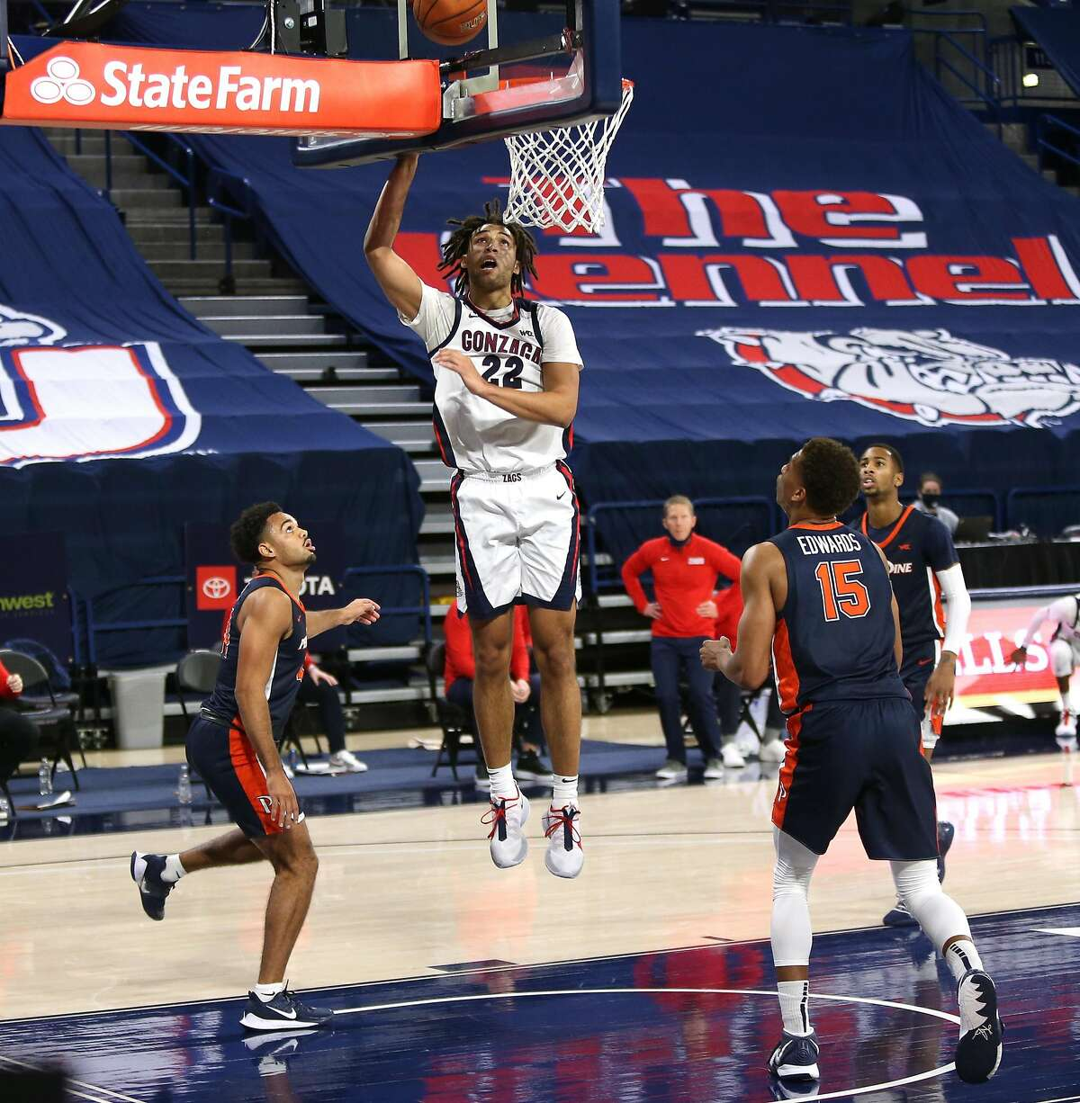 SPOKANE, WASHINGTON - JANUARY 14: Anton Watson #22 of the Gonzaga Bulldogs puts up a shot against the Pepperdine Waves in the second half at McCarthey Athletic Center on January 14, 2021 in Spokane, Washington. Gonzaga defeats Pepperdine 95-70. (Photo by William Mancebo/Getty Images)