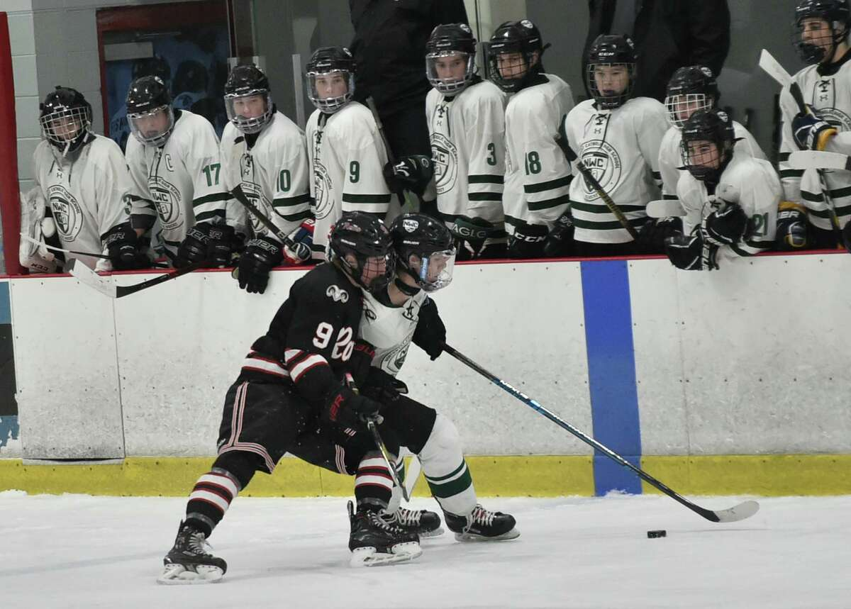 North Branford Connecticut - Saturday, March 9, 2019: Northwest Catholic H.S. vs. New Canaan H.S. during the CIAC Division 1 Boys Hockey Championship quarterfinal Saturday afternoon at the Northford H.S. Pavilion in Northford.