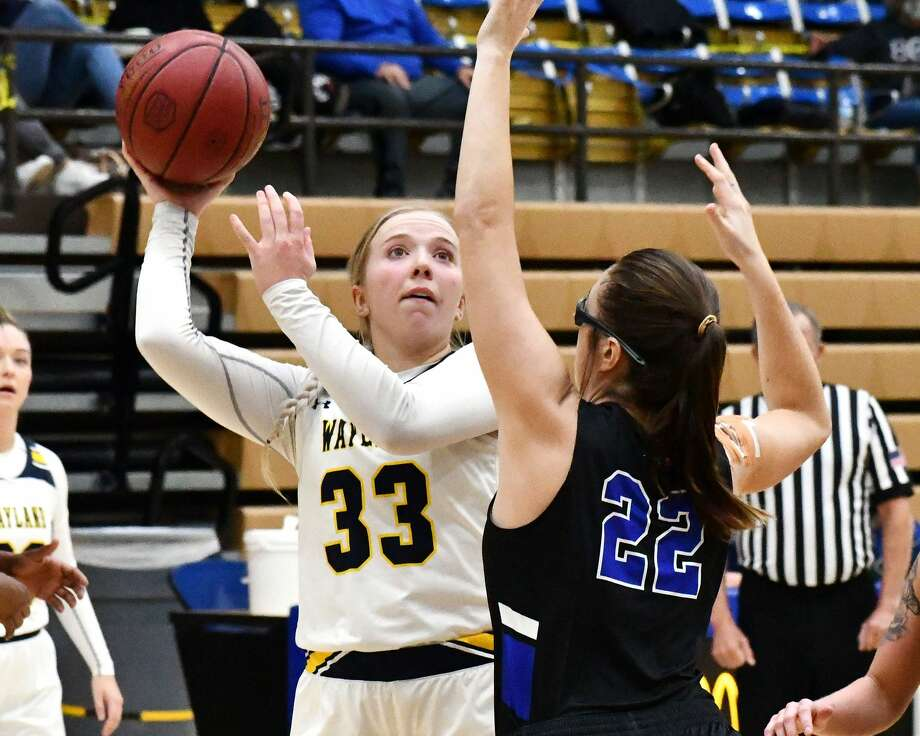 Wayland Baptist's Jenna Cooper had a career-high 15 rebounds in the Flying Queens' 66-52 win over Southwestern Christian in the Hutcherson Center on Thursday night. Photo: Nathan Giese/Planview Herald