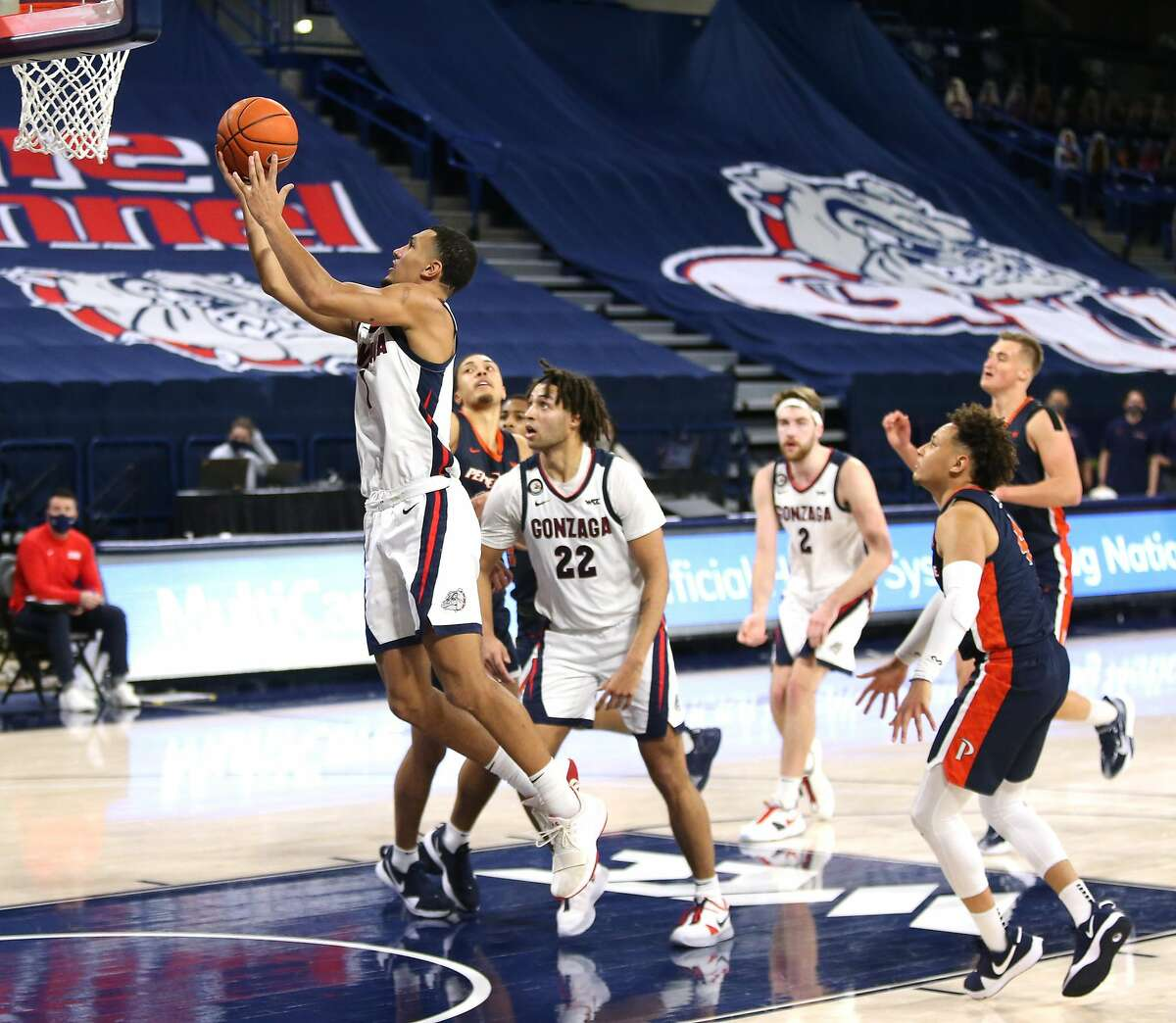 SPOKANE, WASHINGTON - JANUARY 14: Jalen Suggs #1 of the Gonzaga Bulldogs goes to the basket against the Pepperdine Waves in the second half at McCarthey Athletic Center on January 14, 2021 in Spokane, Washington. Gonzaga defeats Pepperdine 95-70. (Photo by William Mancebo/Getty Images)