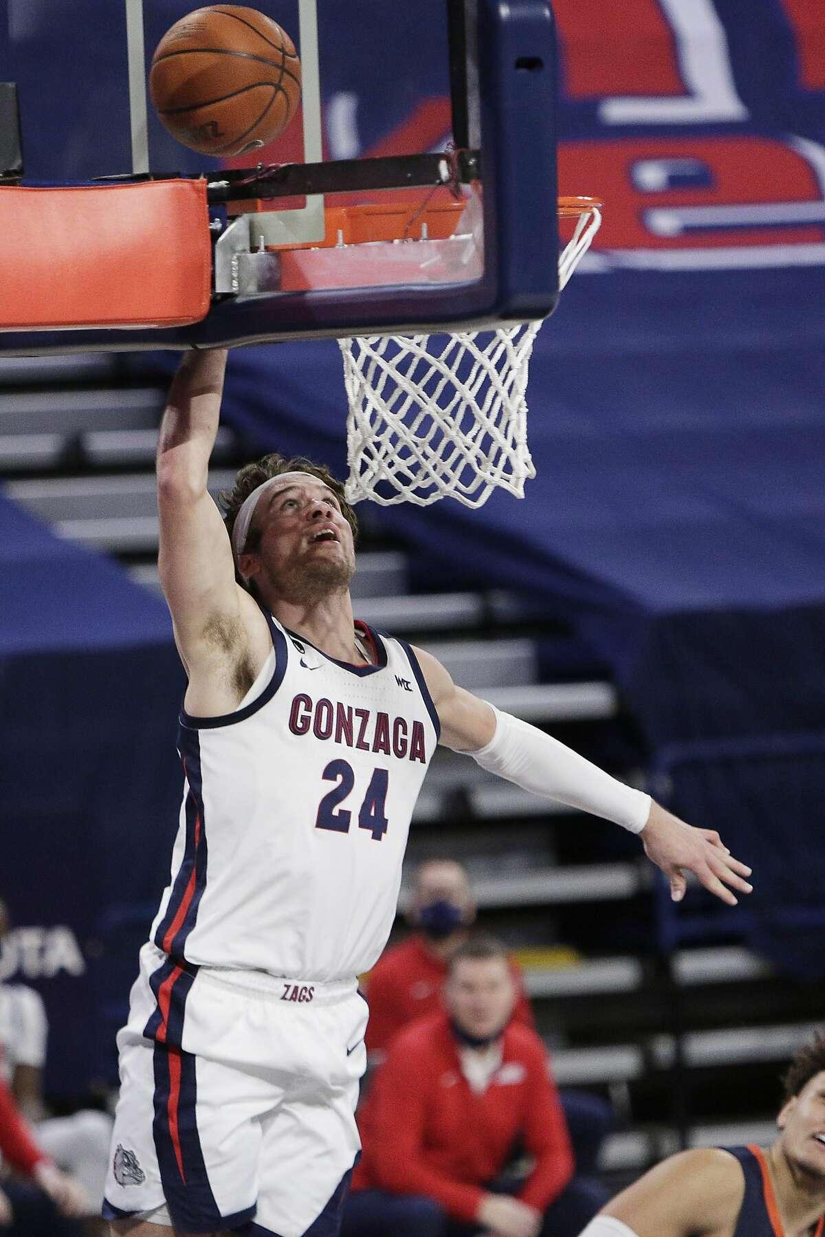 Gonzaga forward Corey Kispert shoots during the second half of the team's NCAA college basketball game against Pepperdine in Spokane, Wash., Thursday, Jan. 14, 2021. Gonzaga won 95-70. (AP Photo/Young Kwak)