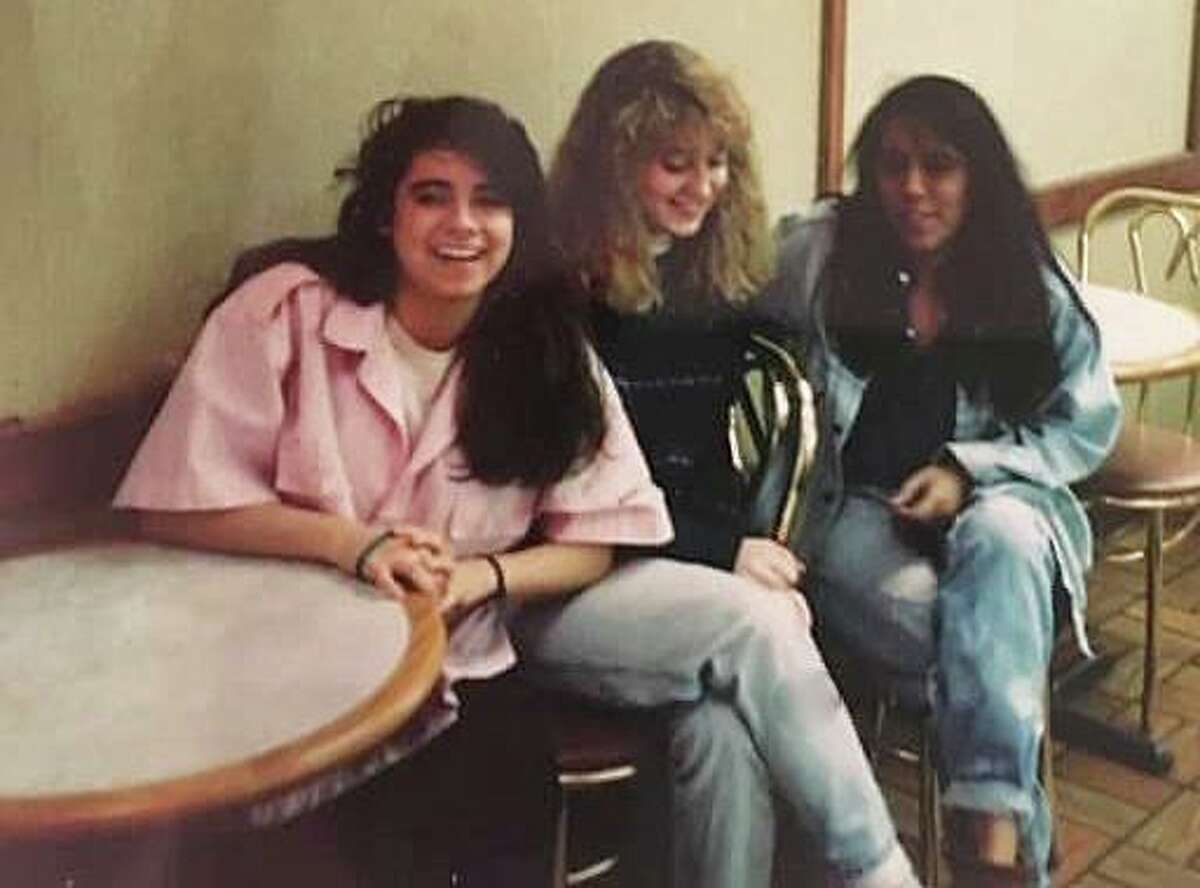 Rose Rodríguez Phelan, right, with Shanon Becker, left, and Julie Ott Farris at Baskin-Robbins on Greenwich Avenue in Greenwich, Connecticut, circa 1986.