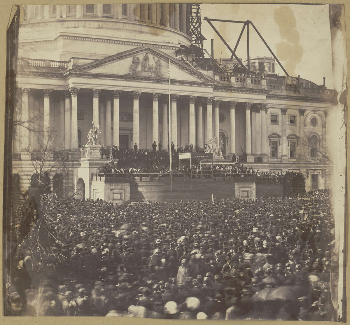 Abraham Lincoln is inaugurated at the Capitol on March 4, 1861.