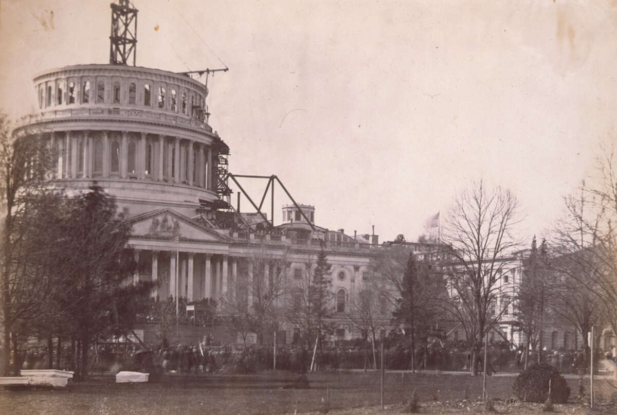 Abraham Lincoln's first inauguration ceremony took place March 4, 1861, at the same East Portico where part of a mob incited by President Trump stormed the Capitol last week.