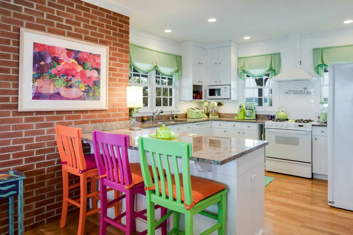 Kitchen with colorful breakfast bar at Wheeler Island, Branford.