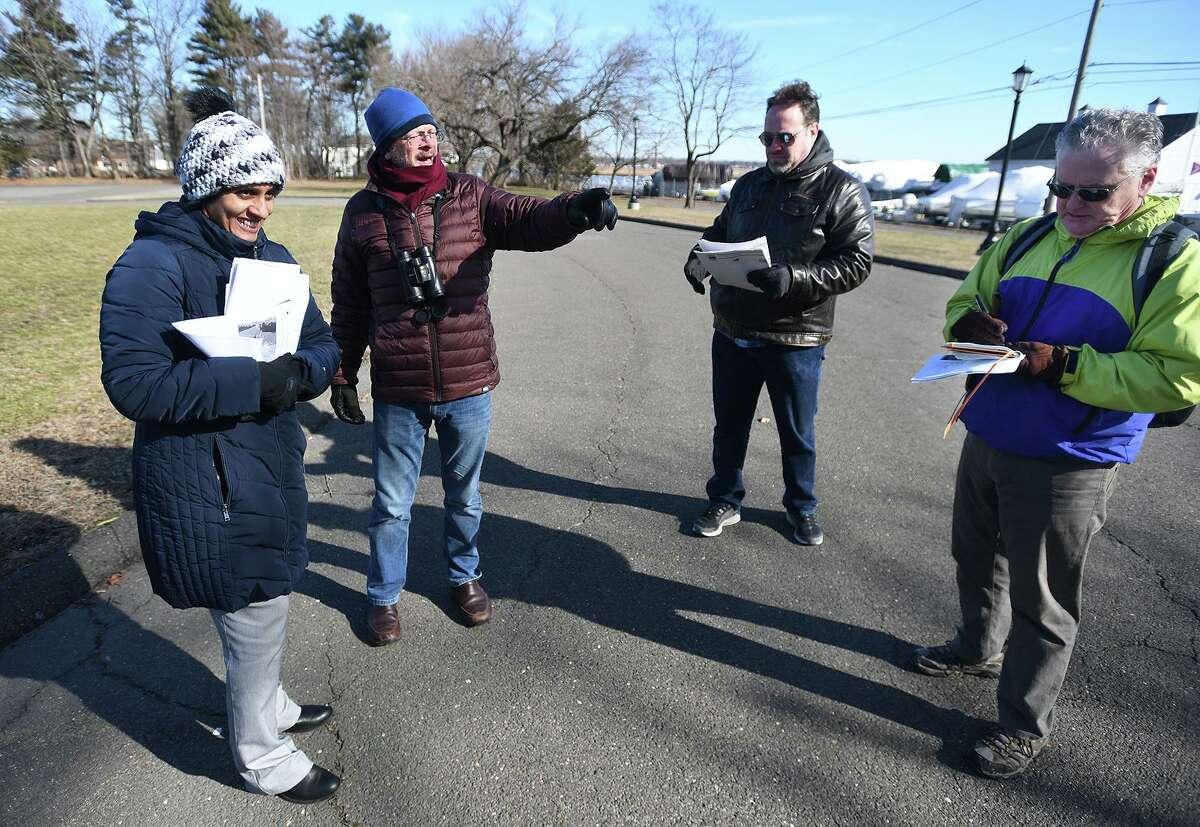 From left; Stratford Town Planner Susmitha Attota, and Shakespeare Property Sub-committee members Tom Dillon, Tom Evans, and Greg Reilly tour the site of the former Shakespeare Theater in Stratford, Conn. on Thursday, January 30, 2020.
