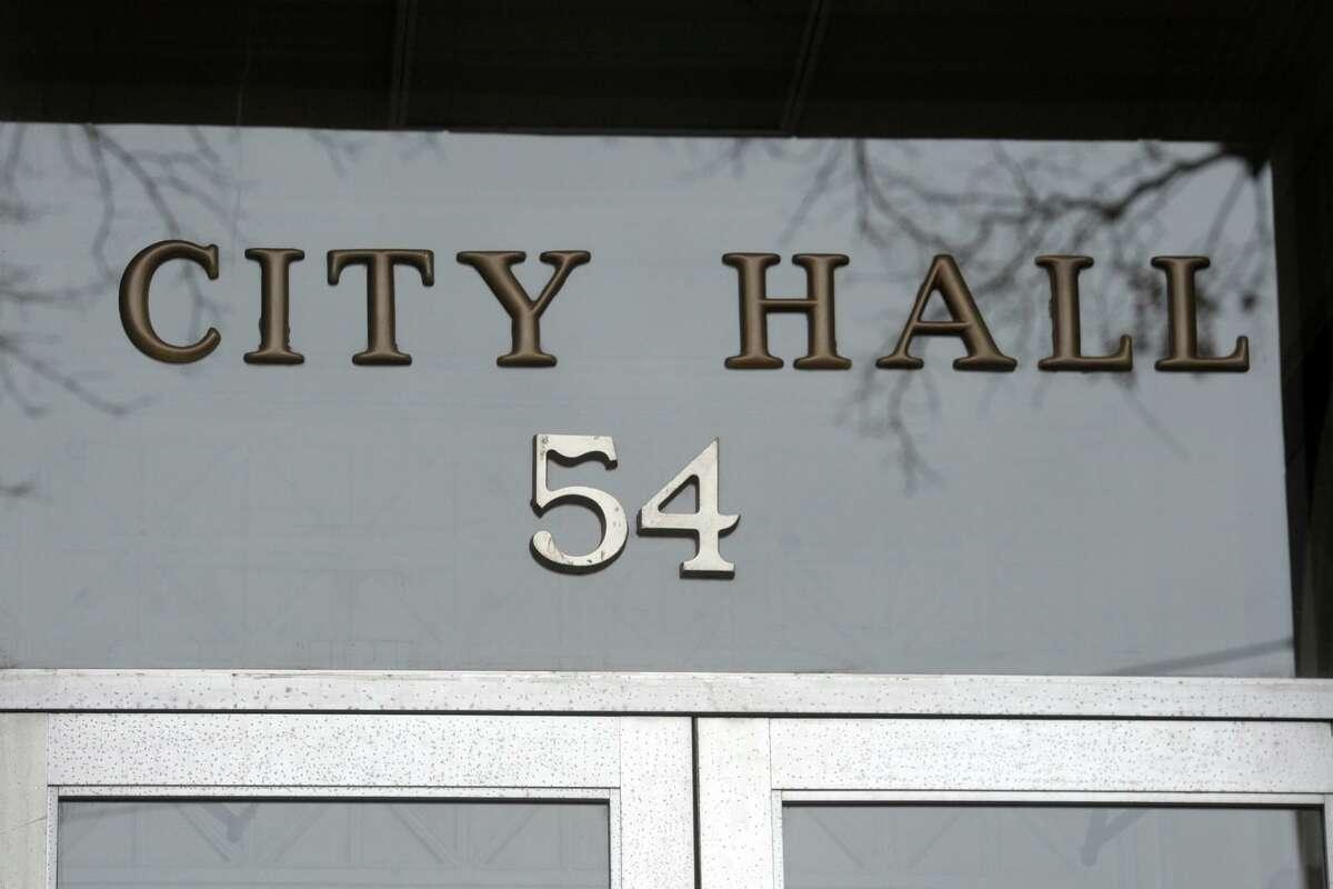 Exterior of Shelton City Hall, in Shelton, Conn. Jan. 11, 2021.