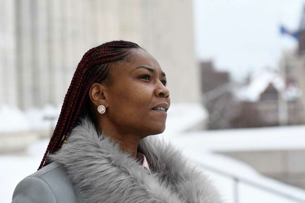 Alicia Womack is pictured on Friday, Dec. 18, 2020, in Albany, N.Y. Womack is making plans to launch her own caregiving company. (Will Waldron/Times Union)