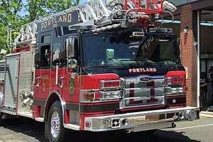 A fire photo of a Portland, Conn., fire engine.