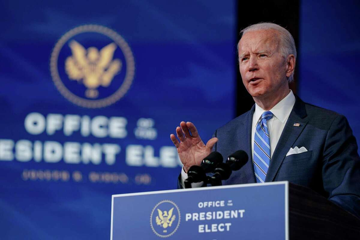 President-elect Joe Biden speaks at the Queen Theater in Wilmington, Del., on Thursday, Jan. 14, 2021. Biden proposed a $1.9 trillion rescue package to combat the economic downturn and the COVID-19 crisis. (Amr Alfiky/The New York Times)
